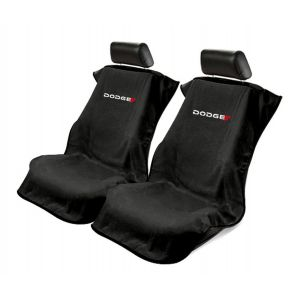 Seat Armour ® - Pair of Black Towel Seat Covers with New Dodge Logo (SA100NDODB)