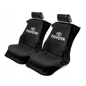 Seat Armour ® - Pair of Black Towel Seat Covers with Toyota Logo (SA100TOYB)