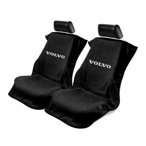 Seat Armour ® - Pair of Black Towel Seat Covers with Volvo Logo (SA100VLVB)