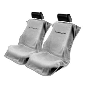 Seat Armour ® - Pair of Grey Towel Seat Covers with Charger Logo (SA100CHARGG)