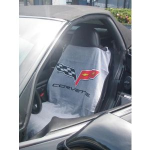 Seat Armour ® - Pair of Grey Towel Seat Covers with Corvette C6 Logo (SA100COR6G)
