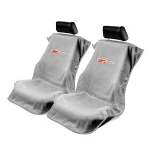 Seat Armour ® - Pair of Grey Towel Seat Covers with Corvette Z06 Logo (SA100COR6ZG)