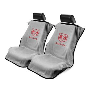 Seat Armour ® - Pair of Grey Towel Seat Covers with Dodge Logo (SA100DODG)