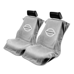 Seat Armour ® - Pair of Grey Towel Seat Covers with Nissan Logo (SA100NISSG)