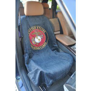 Seat Armour ® - Pair of Marine Blue Towel Seat Covers with US Marines Logo (SA200USMAR)