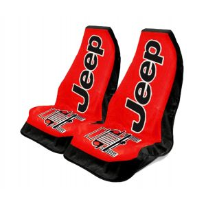 Seat Armour ® - Pair of Red Towel 2 GO Seat Covers with Jeep Wrangler Logo (T2G100R)