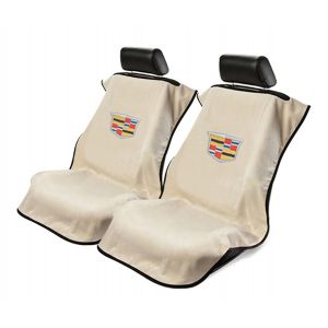 Seat Armour ® - Pair of Tan Towel Seat Covers with New Cadillac Logo (SA100NCADT)