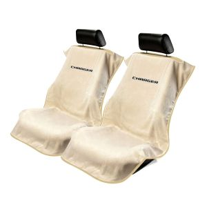 Seat Armour ® - Pair of Tan Towel Seat Covers with Charger Logo (SA100CHARGT)