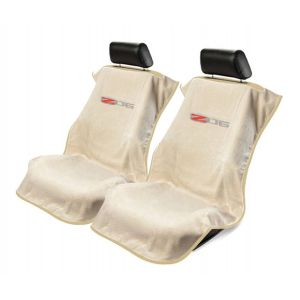 Seat Armour ® - Pair of Tan Towel Seat Covers with Corvette Z06 Logo (SA100COR6ZT)