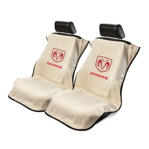 Seat Armour ® - Pair of Tan Towel Seat Covers with Dodge Logo (SA100DODT)