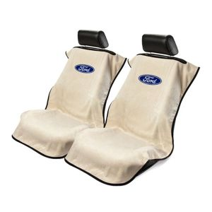 Seat Armour ® - Pair of Tan Towel Seat Covers with Ford Logo (SA100FORT)