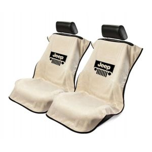 Seat Armour ® - Pair of Tan Towel Seat Covers with Jeep with Grille Logo (SA100JEPGT)