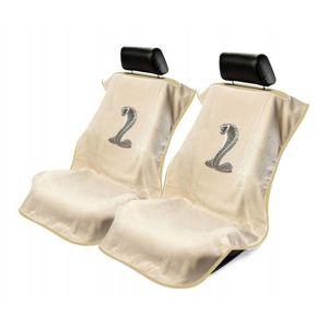 Seat Armour ® - Pair of Tan Towel Seat Covers with Mustang Cobra Logo (SA100COBT)