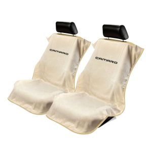 Seat Armour ® - Pair of Tan Towel Seat Covers with New Camaro Logo (SA100NCAMT)