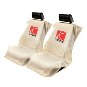 Seat Armour ® - Pair of Tan Towel Seat Covers with Saturn Logo (SA100SATT)