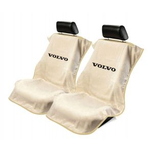 Seat Armour ® - Pair of Tan Towel Seat Covers with Volvo Logo (SA100VLVT)