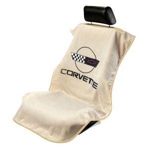 Seat Armour ® - Tan Towel Seat Cover with Corvette C4 Logo (SA100COR4T)