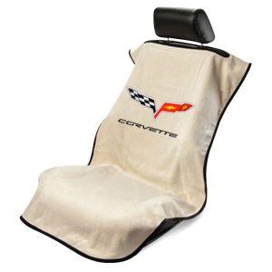 Seat Armour ® - Tan Towel Seat Cover with Corvette C6 Logo (SA100COR6T)