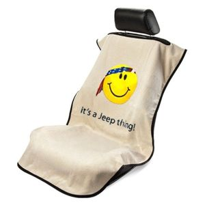 Seat Armour ® - Tan Towel Seat Cover with Jeep Smiley Face Logo (SA100JEPSFT)