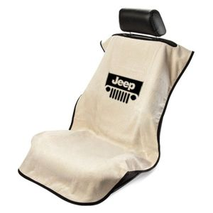 Seat Armour ® - Tan Towel Seat Cover with Jeep with Grille Logo (SA100JEPGT)