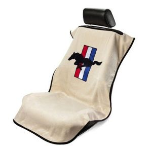 Seat Armour ® - Tan Towel Seat Cover with Mustang Pony Logo (SA100MUST)