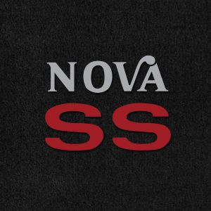 Lloyd Mats ® - Velourtex Black Front Floor Mats For Chevrolet Nova 1975-79 with Nova SS Embroidery