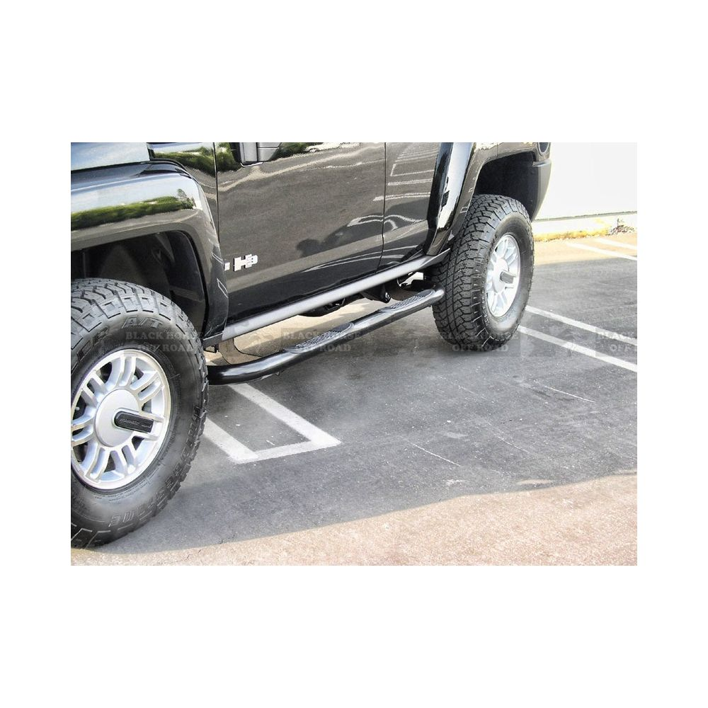 Black Horse Off Road ® - Black 3 Inch Round Side Steps (9B083801A)