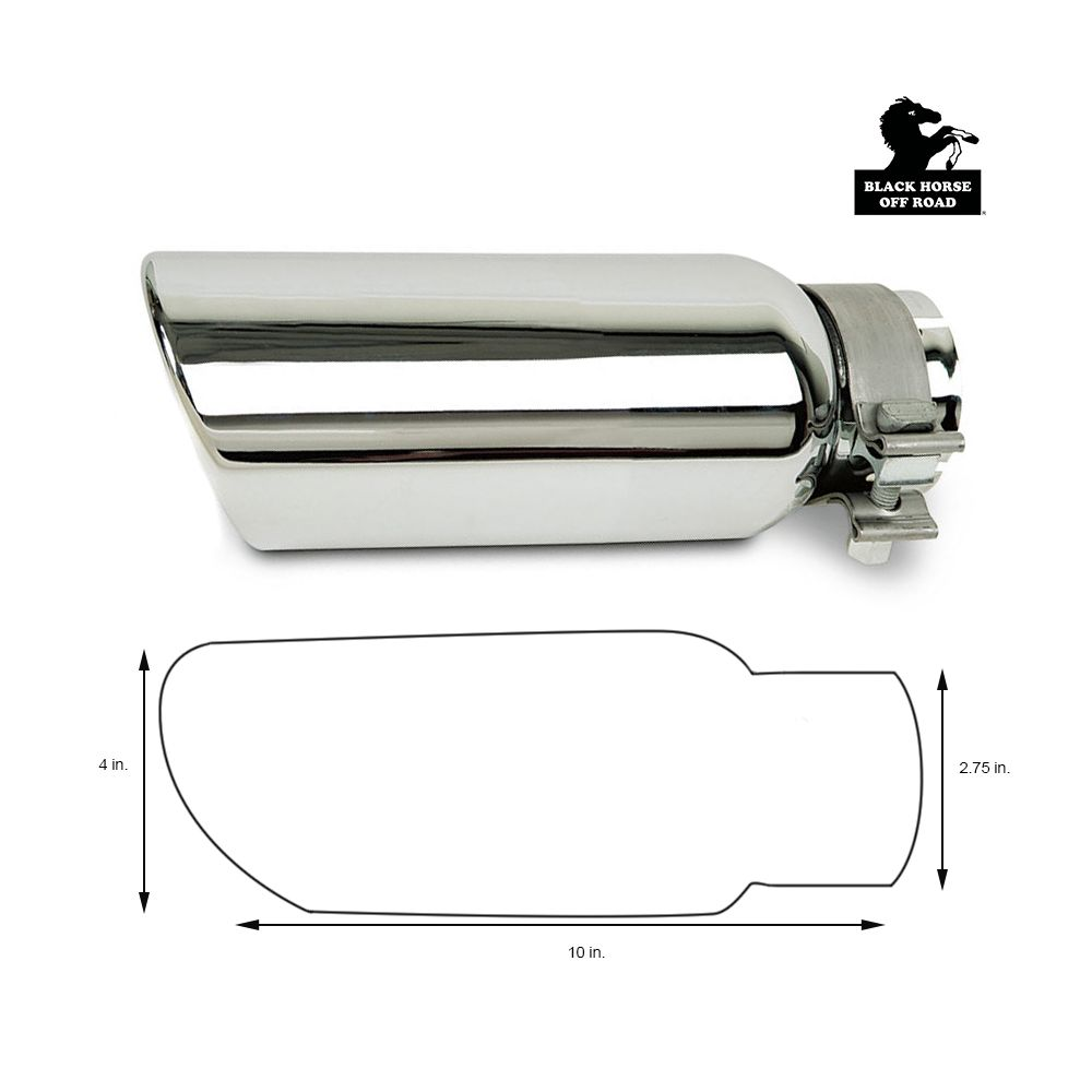 Black Horse Off Road ® - Universal 4 Inch Stainless Steel Muffler Exhaust Tip (MT-RR01SS)