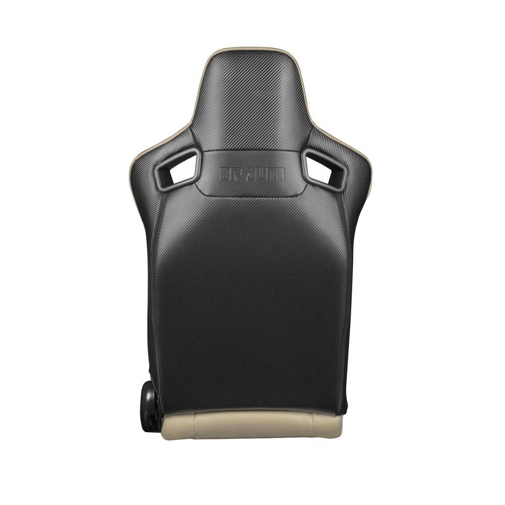 Braum ® - Pair of Beige Leatherette Carbon Fiber Mixed Elite Series Racing Seats (BRR1-BGBW)