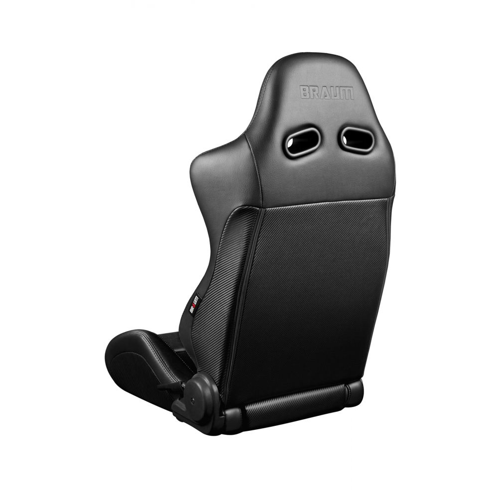 Braum ® - Pair of Black Leatherette Carbon Fiber Mixed Advan Series Racing Seats with Black Fabric Inserts and Black Stitches (BRR2-BKBK)