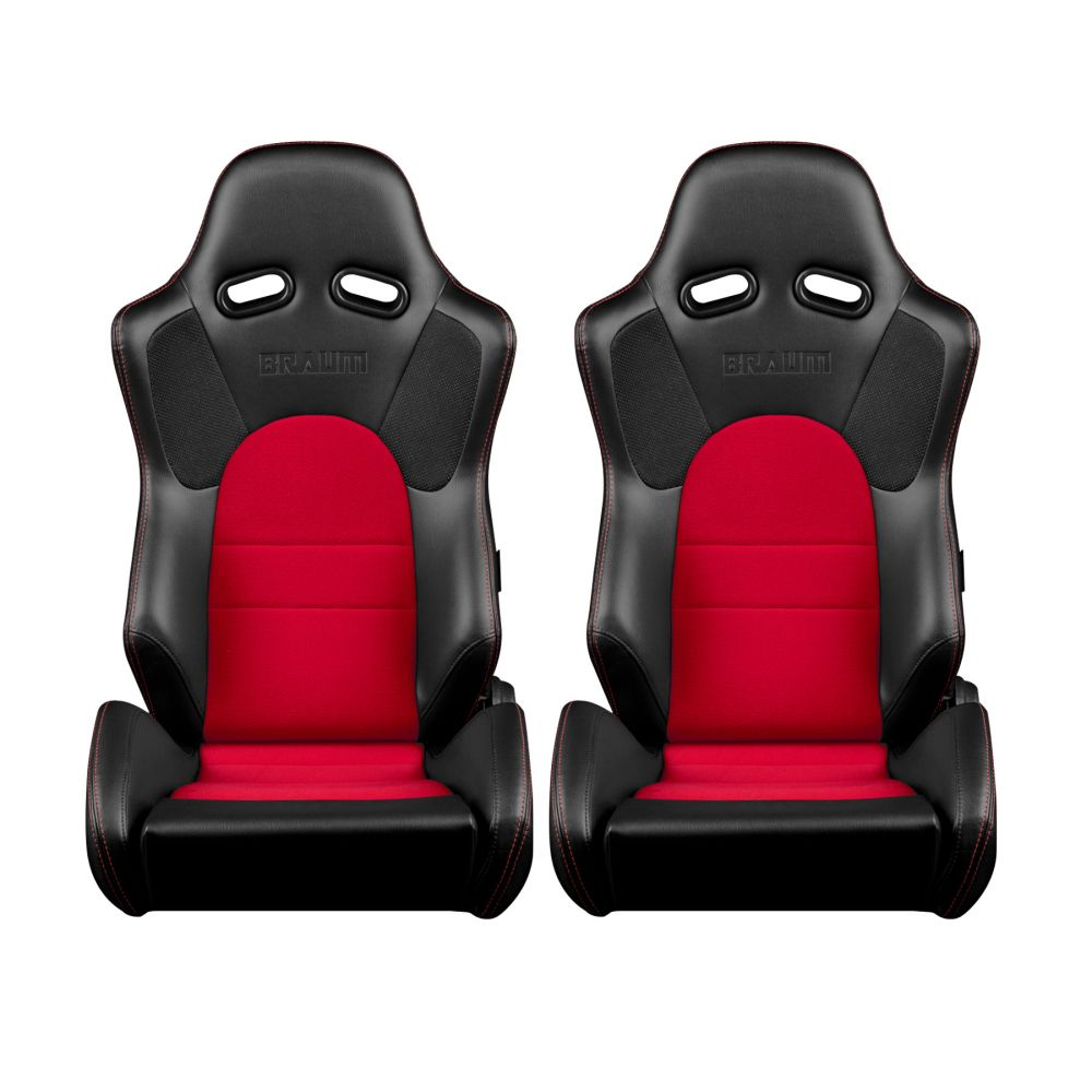 Braum ® - Pair of Black Leatherette Carbon Fiber Mixed Advan Series Racing Seats with Red Fabric Inserts and Red Stitches (BRR2-BKRD)