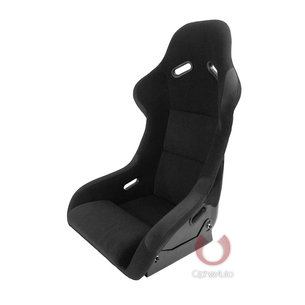 Cipher Auto ® - Black Fabric with Suede Insert and FRP Bucket Universal Racing Seat (CPA2011FBK)