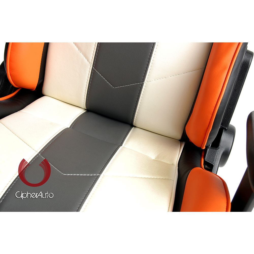 Cipher Auto ® - White with Gray and Orange Stripes Leatherette Office Racing Seat (CPA5001PWH-GYOR)