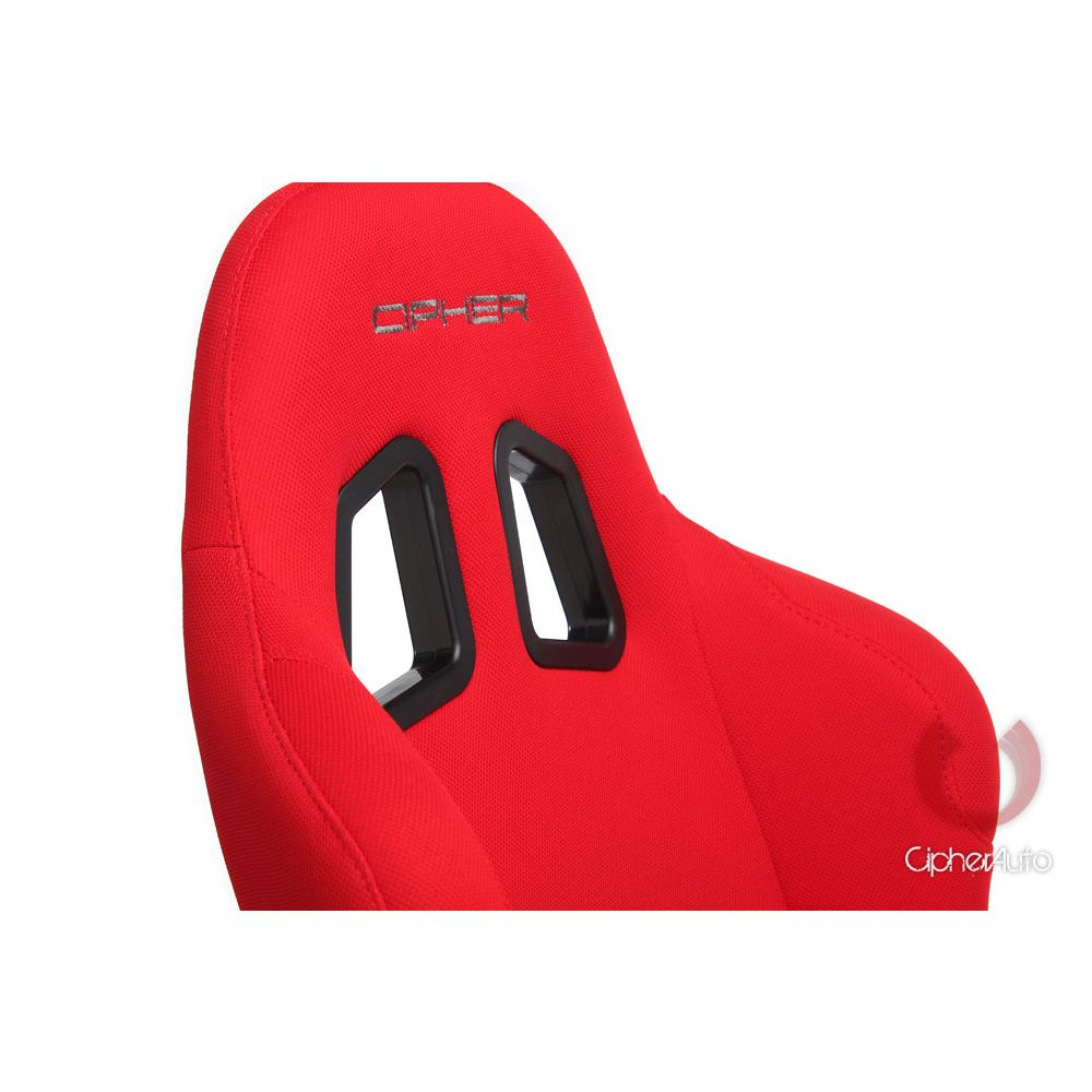 Cipher Auto ® - Red Fabric Full Bucket Non Reclineable Universal Racing Seat (CPA1005FRD)