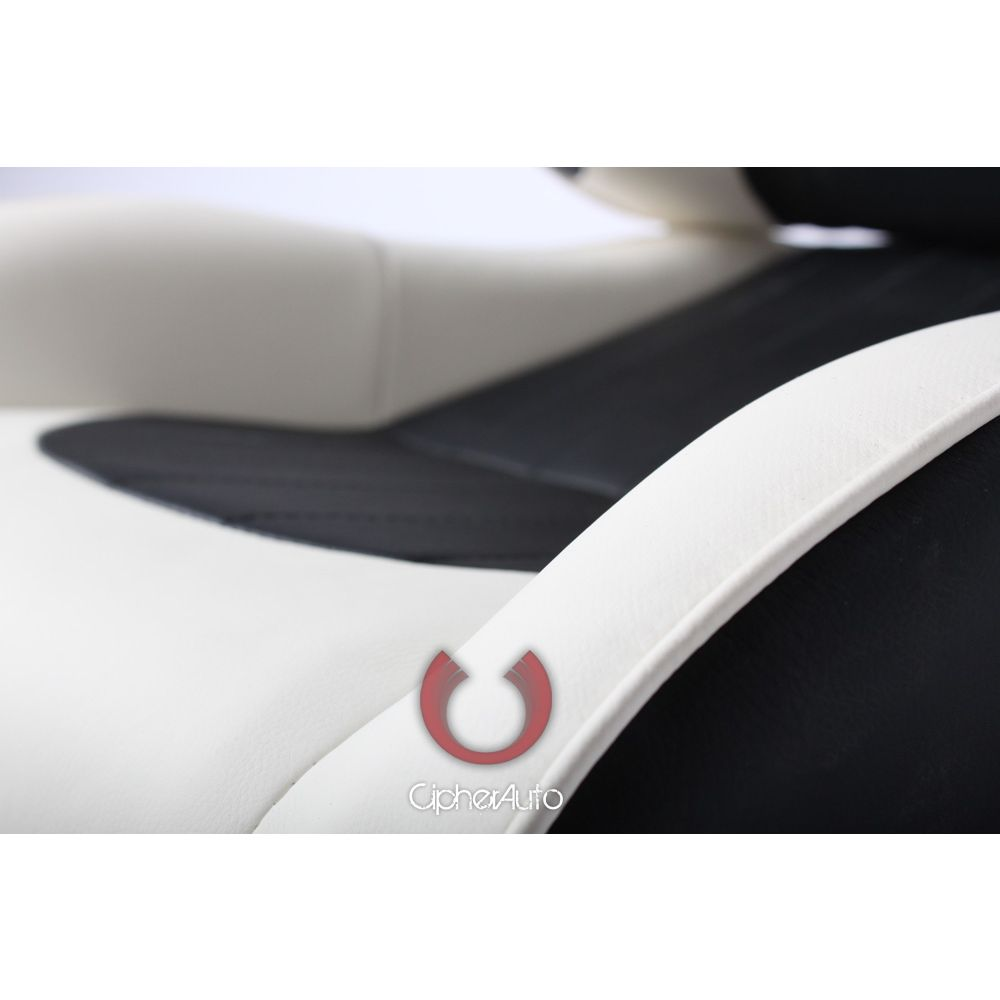 Cipher Auto ® - Black and White Leatherette Universal Racing Seats (CPA1009PBKW)