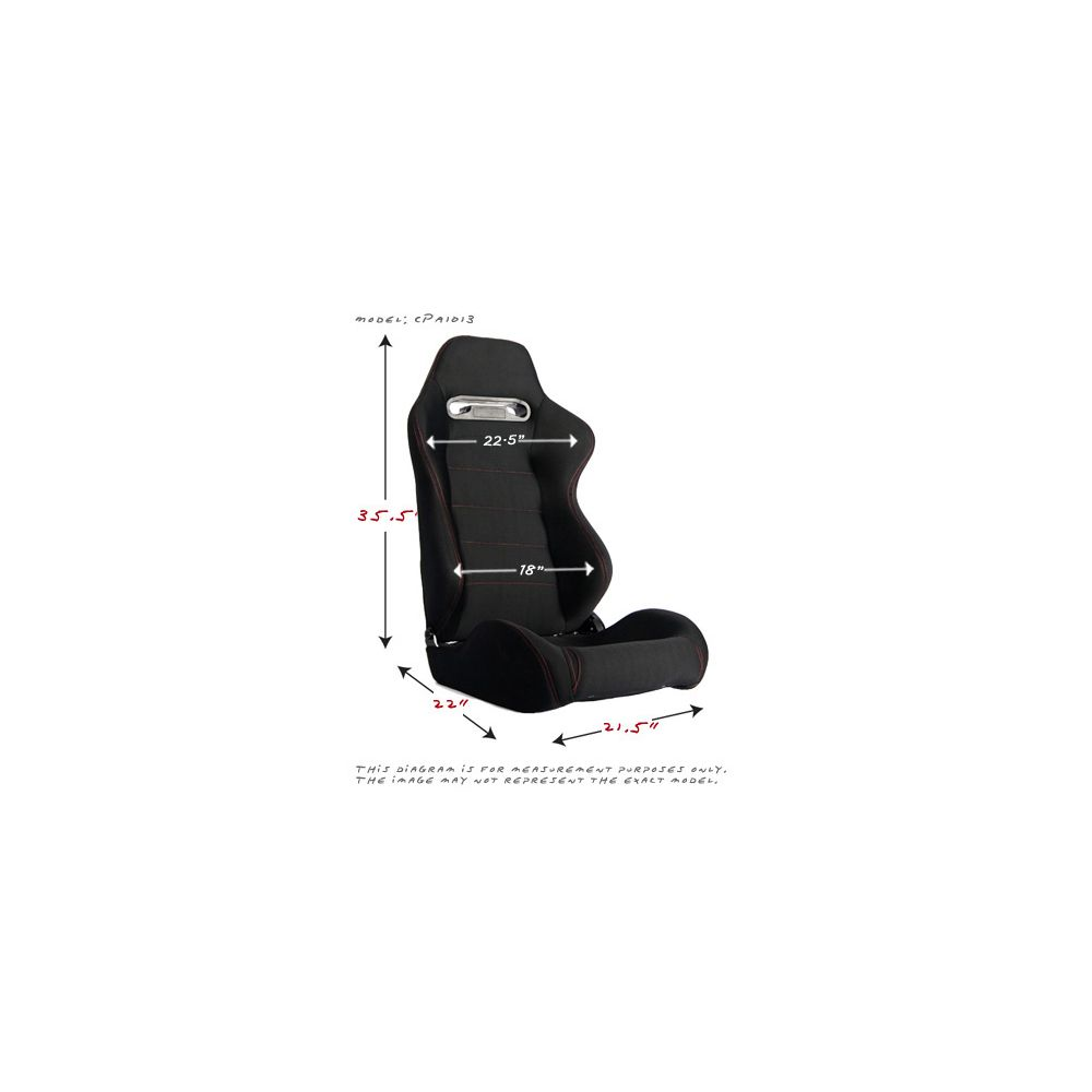 Cipher Auto ® - Black Cloth with Red Stitching Universal Racing Seats (CPA1013FBK-R)