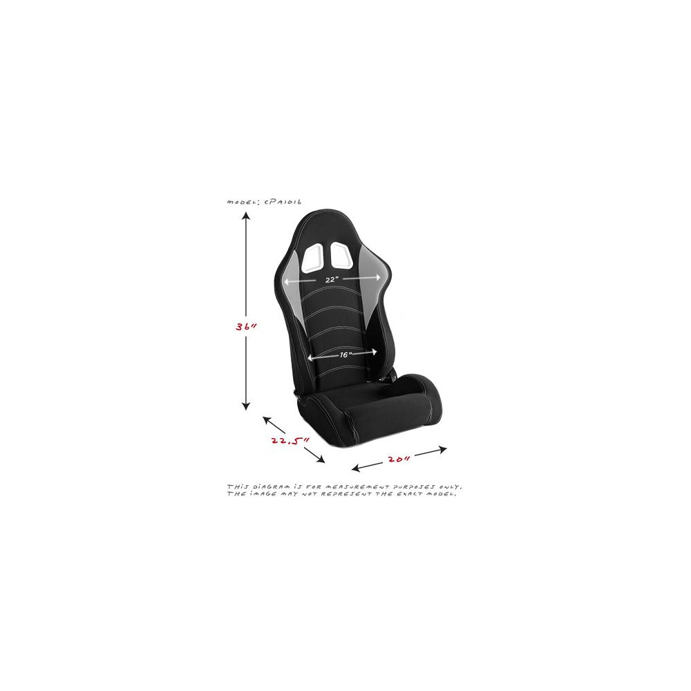 Cipher Auto ® - Black and Grey Cloth Universal Racing Seats (CPA1017FBKGY)