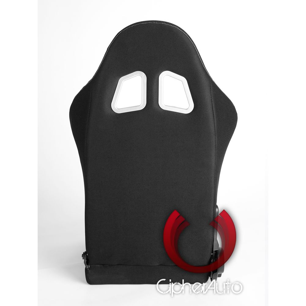 Cipher Auto ® - Black and Red Cloth Universal Racing Seats (CPA1018FBKRD)