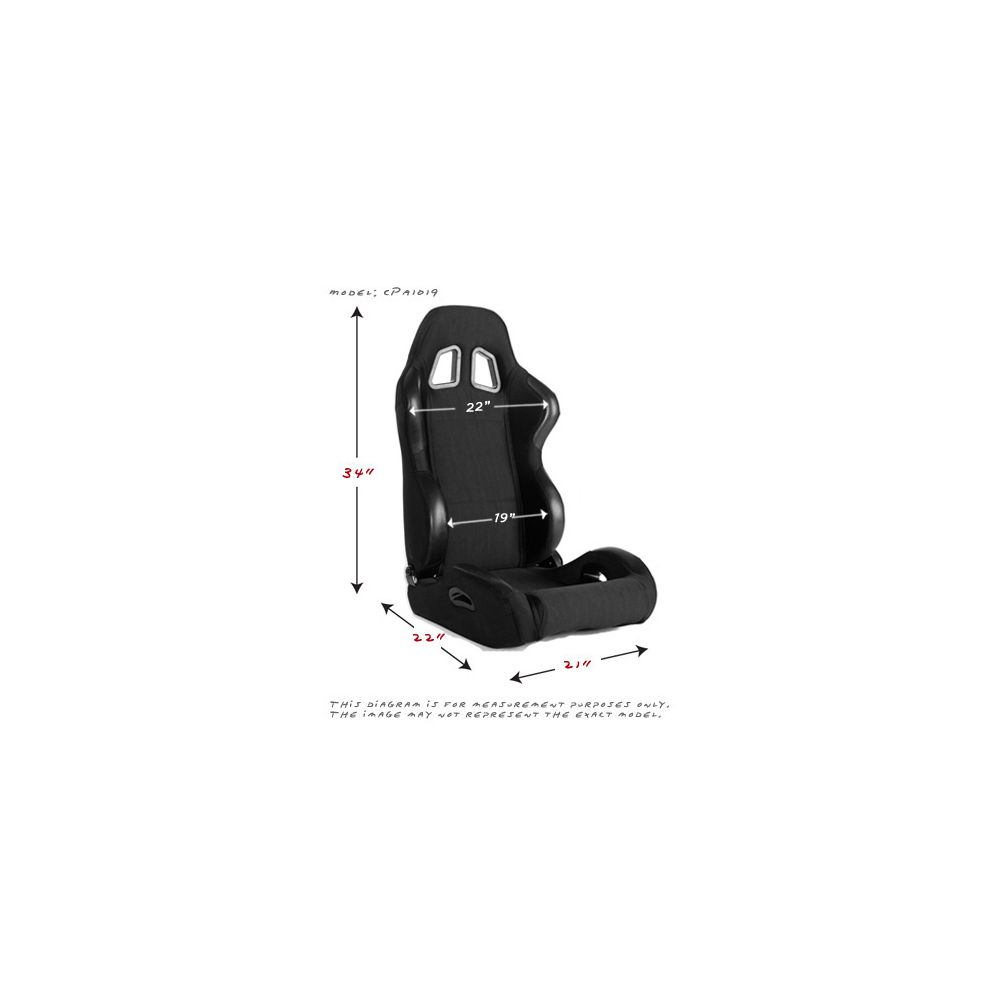 Cipher Auto ® - Black Cloth Universal Racing Seats (CPA1025FBK)