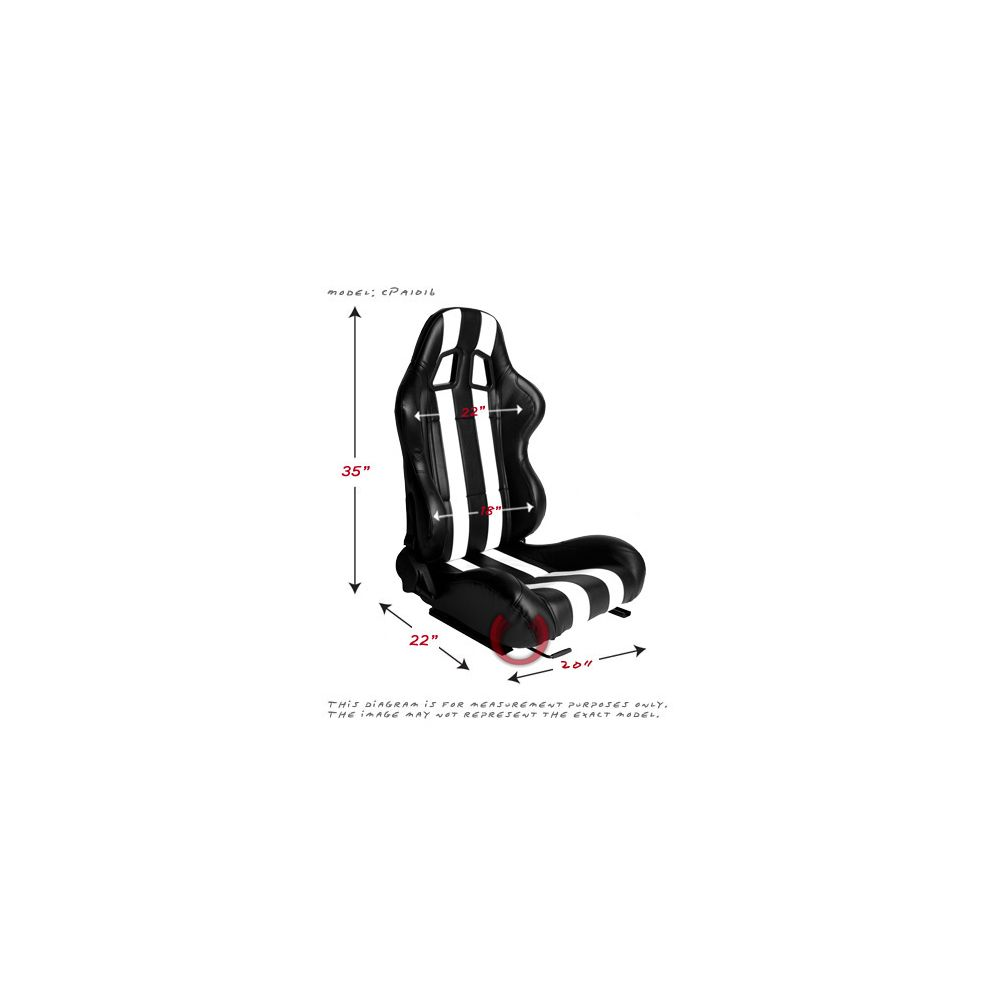 Cipher Auto ® - Black Leatherette with Red Accent Piping Universal Racing Seats (CPA1031PBK-R)