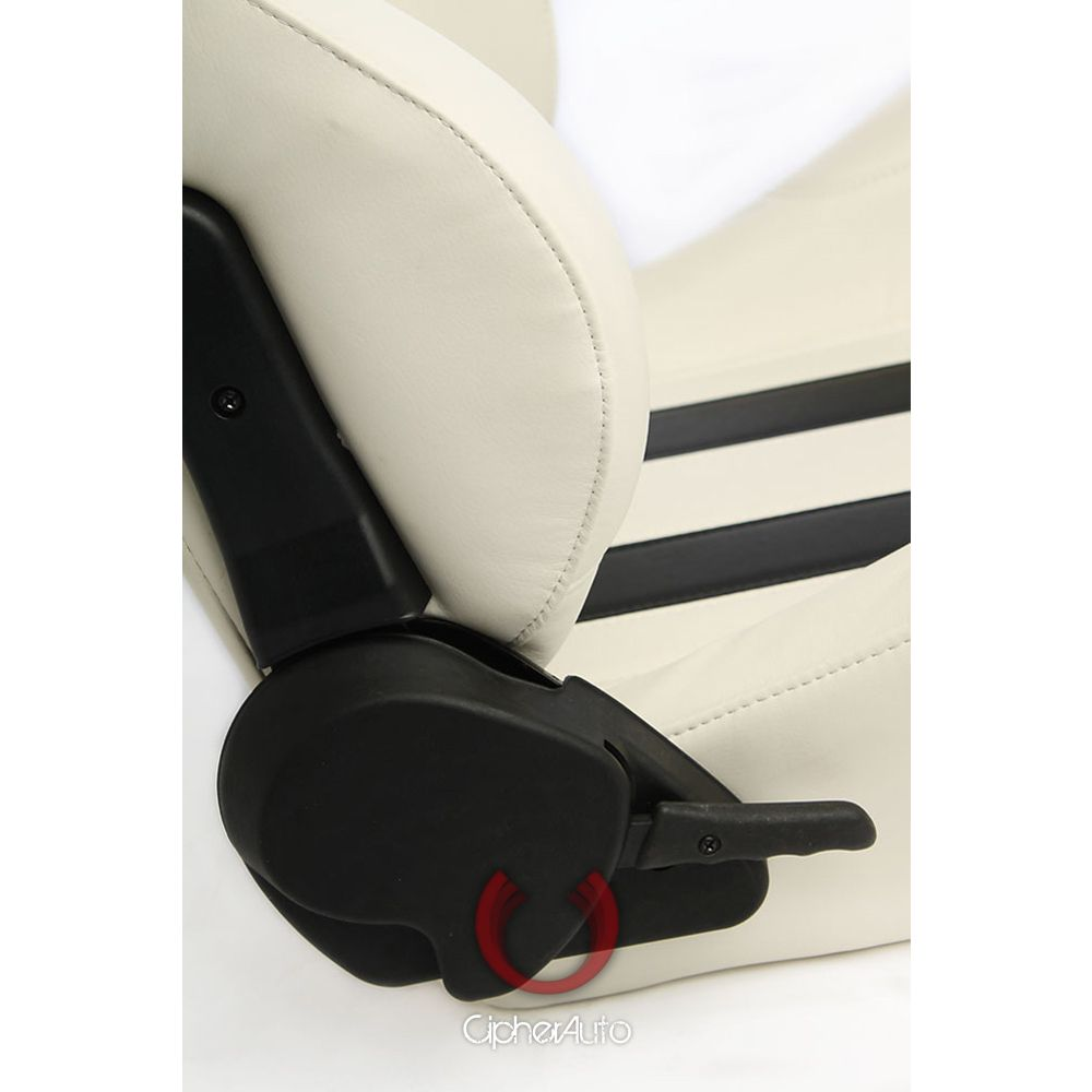 Cipher Auto ® - White Leatherette with Black Stripes Universal Racing Seats (CPA1026PWH-BK)