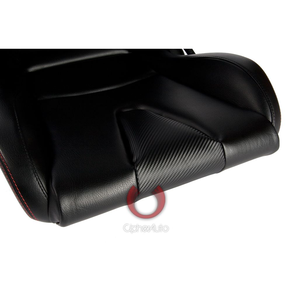 Cipher Auto ® - Black Leatherette Carbon Fiber with Red Stitching Universal Euro Racing Seats (CPA2001PCFBK-R)