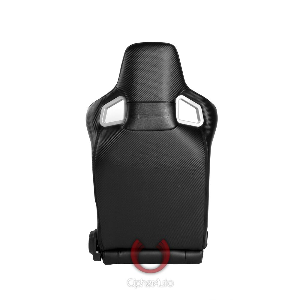 Cipher Auto ® - Black Leatherette Carbon Fiber with Black Stitching Universal Euro Racing Seats (CPA2001PCFBK)