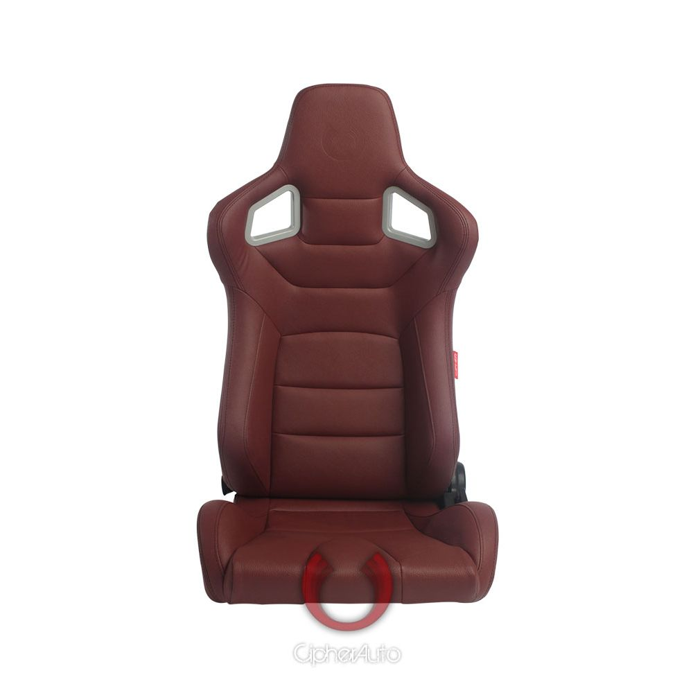 Cipher Auto ® - Maroon Leatherette Carbon Fiber With Black Stitching Universal Euro Racing Seats (CPA2001PCFMR)