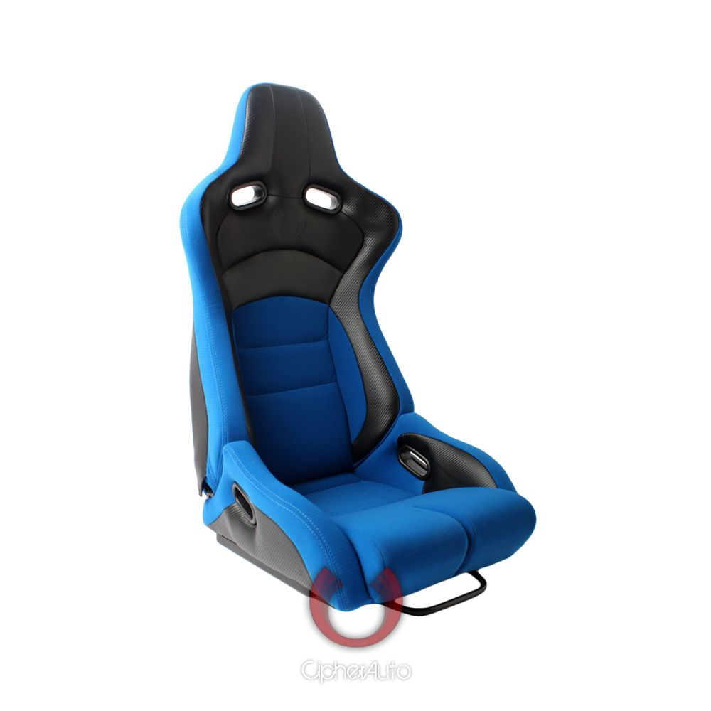 Cipher Auto ® - Blue Cloth with Black Carbon PU Universal Viper Racing Seats (CPA2002CFBKBU)