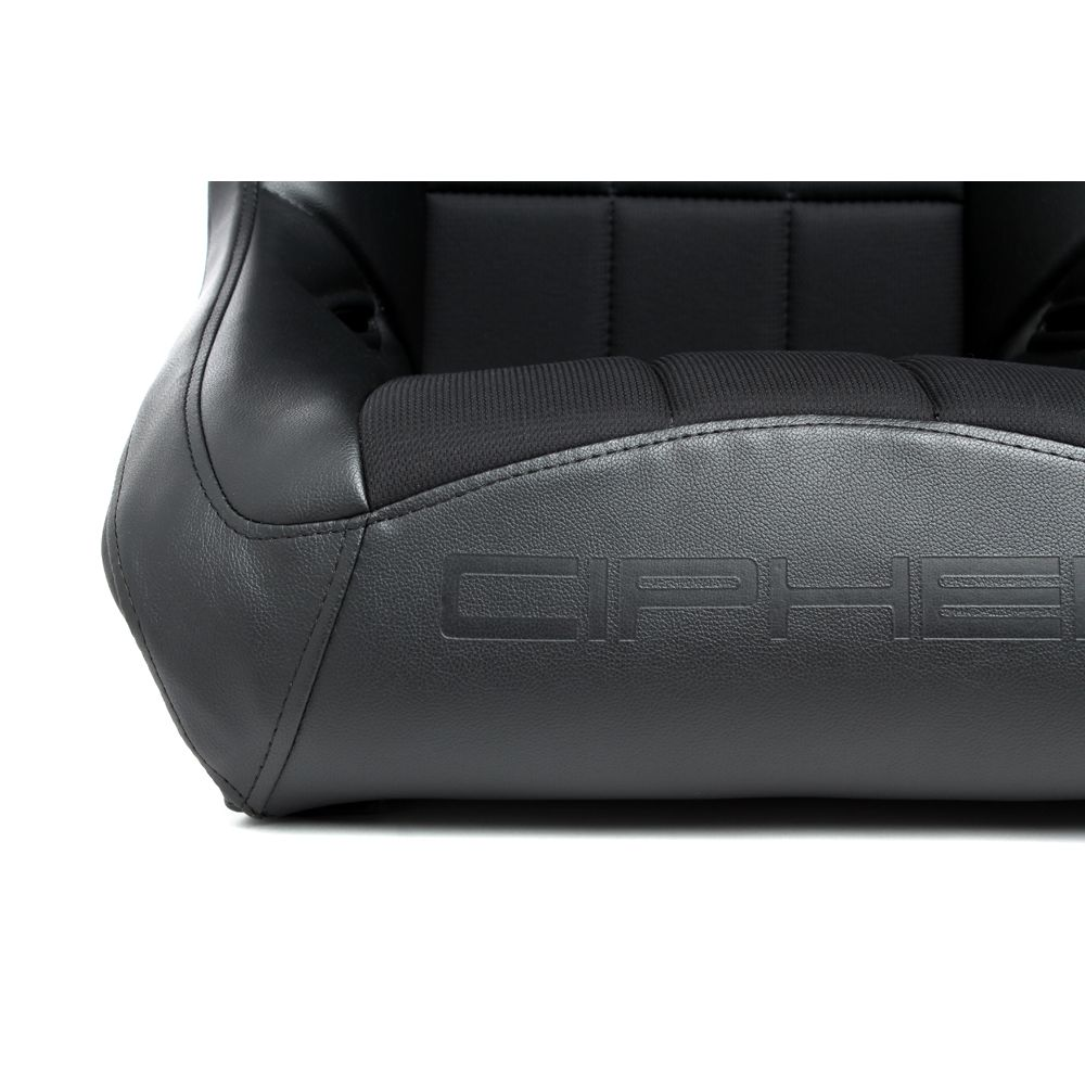 Cipher Auto ® - Black Leatherette with Fabric Insert Fixed Back Universal Suspension Seat (CPA3003FBK)