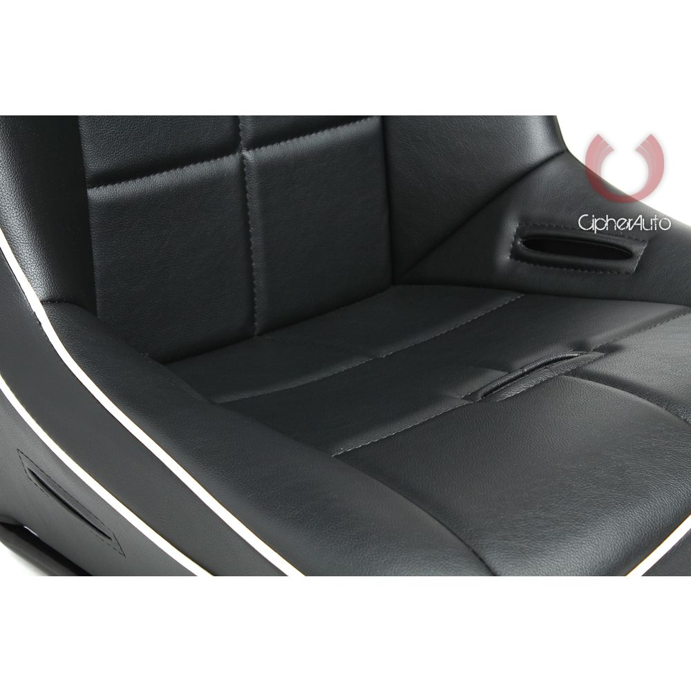 Cipher Auto ® - Black Leatherette with White Piping Fixed Back Universal Suspension Seat (CPA3004PBK-W)