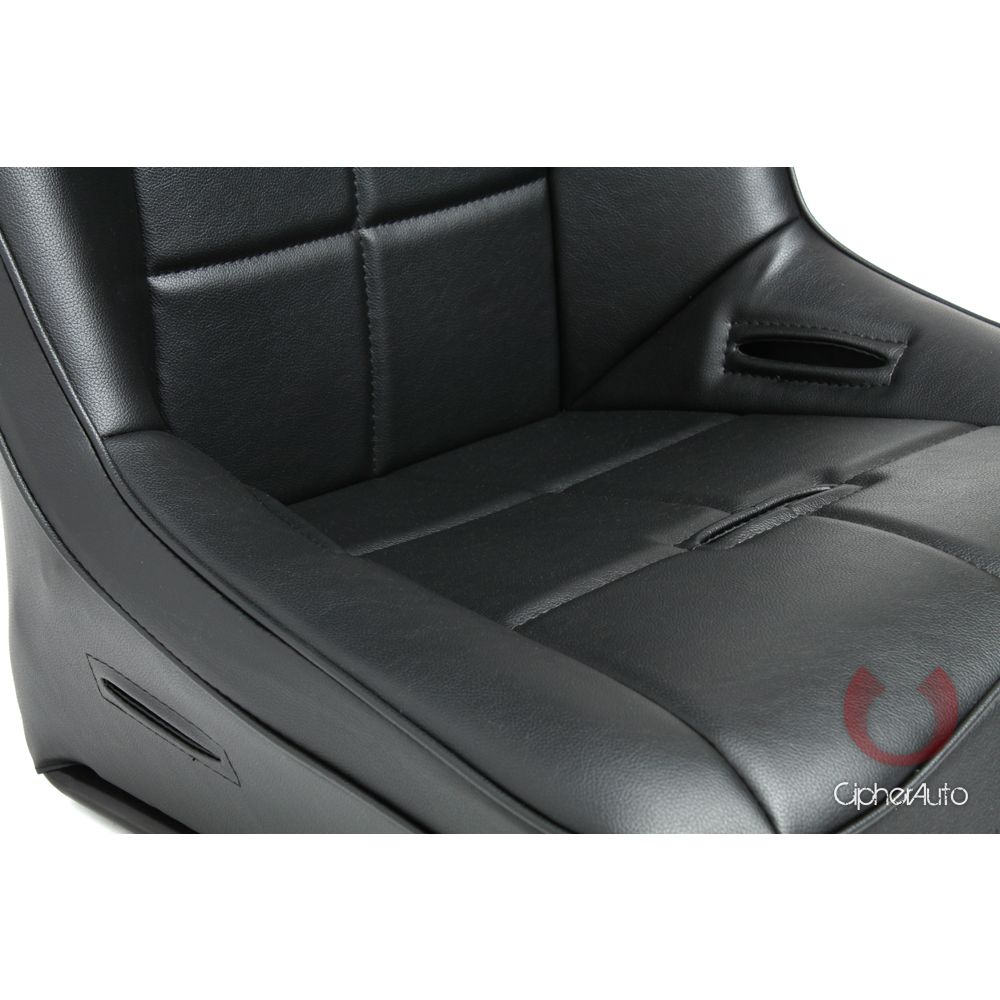 Cipher Auto ® - Black Leatherette Fixed Back Universal Suspension Seat (CPA3004PBK)