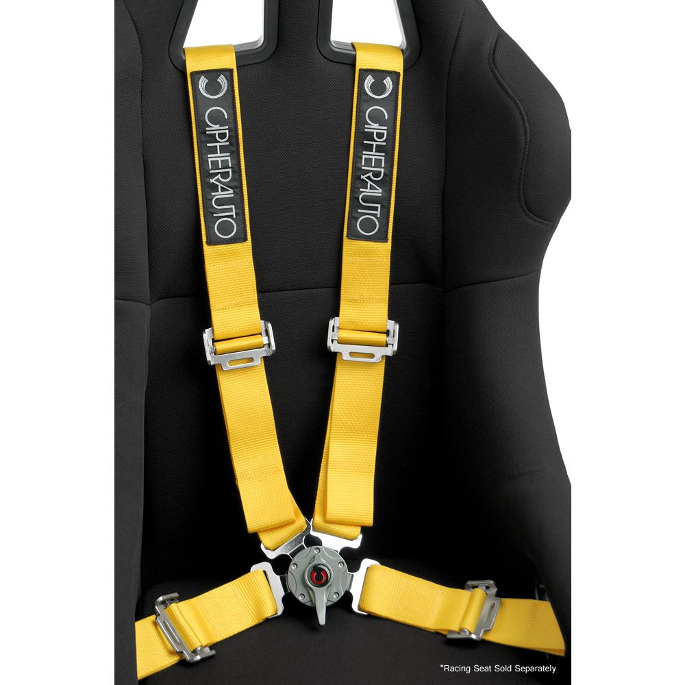 Cipher Auto ® - Yellow 4 Point 2 Inches Camlock Quick Release Racing Harness Set (CPA4001YL)