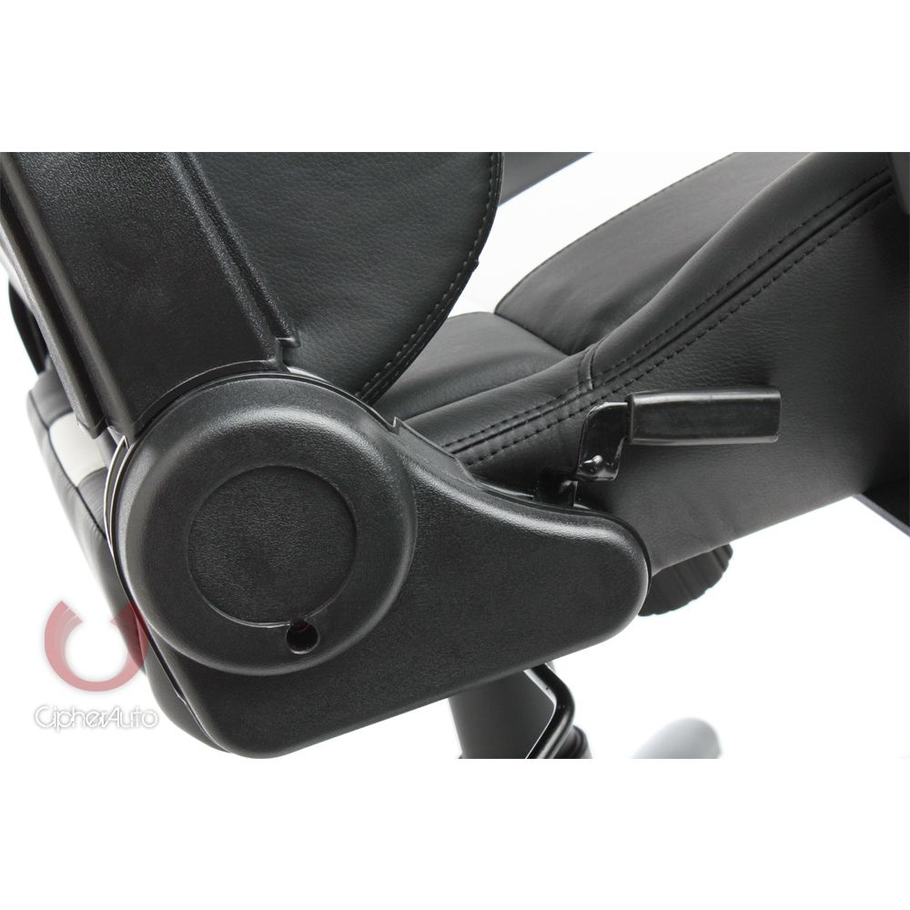 Cipher Auto ® - Black With White Stripes Leatherette Office Racing Seat (CPA5001PBK-WS)